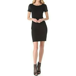 THEORY dress Leather sleeves side panels Black LBD